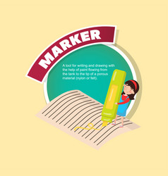 marker tool description little girl with giant vector image