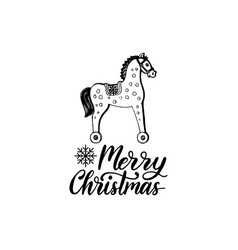Merry christmas lettering on white background vector