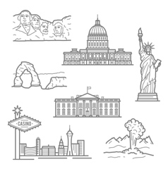 national landmarks usa icons in thin line style vector image