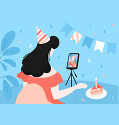 Online birthday celebration in self isolation vector