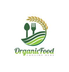 Organic food logo design spoon and fork vector