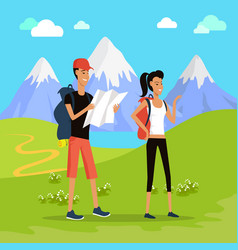 Outdoor recreation concept in flat design vector