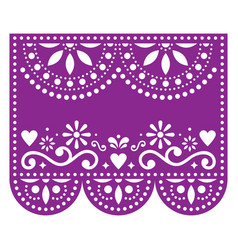 Papel picado template with no text floral vector
