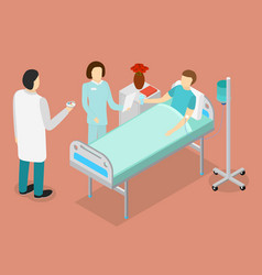 Patient in bed and doctor or medical staff vector