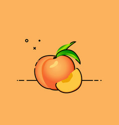 peach with slice in the side vector image