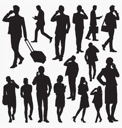 People use smartphone silhouettes vector