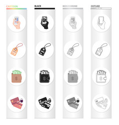 Phone in hand product label cash in purse for vector
