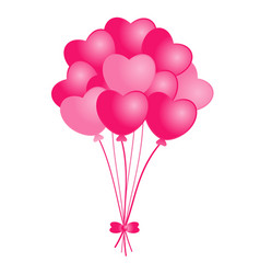 pink heart balloons on white background vector image