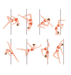 Pole dance performer female characters set flat vector
