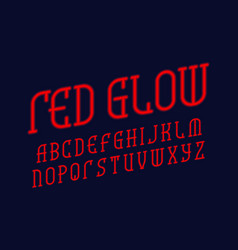 red glow alphabet neon light font isolated vector image