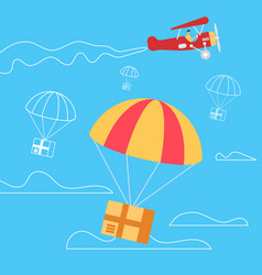 retro airplane throw off parachutes with boxes vector image