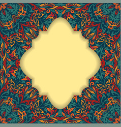 retro boho floral frame three vector image