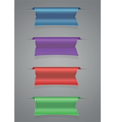 Ribbon set blue purple red green vector