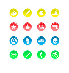 Riot color icons isolated on white vector