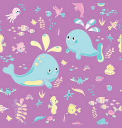 Sea pattern modern style delicate color vector