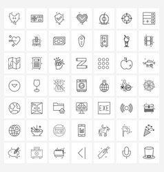 Set 49 universal line icons apple valentine vector
