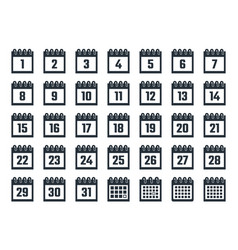 set calendar icons with dates from 1 to 31 vector image