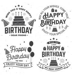 Set happy birthday templates for badge sticker vector