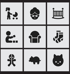Set of 9 editable kin icons includes symbols such vector