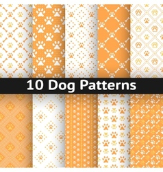 Set of dog seamless pattern vector