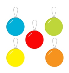 Set of five Christmas balls vector