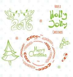 Set of graphic Christmas tags vector image