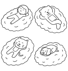Set of man and animal sleep on cloud vector