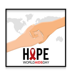 Shaking hands to world aids day campaign vector