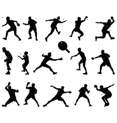 silhouettes table tennis players vector image