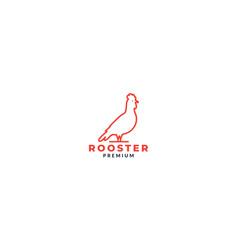 Simple rooster animal bird line side logo design vector