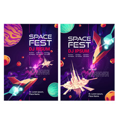 Space dj fest flyers music party posters vector