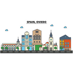 spain oviedo city skyline architecture vector image