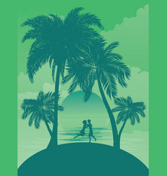 sunrise tropical island vector image