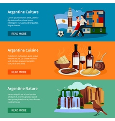 Touristic Argentina Flat Banners Website Page vector