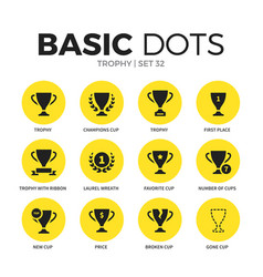 Trophy flat icons set vector