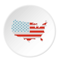 USA map icon flat style vector image