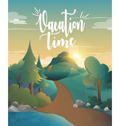 Vacation time for traveling in the forest vector
