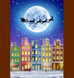 winter town with moon and santa claus vector image