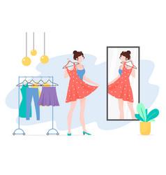 Woman choosing clothes mirror flat vector