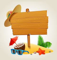 wood sign in beach vector image
