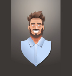 Young businessman face avatar smiling business man vector