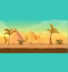 cartoon nature sand desert landscape with palms vector image