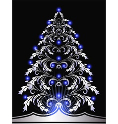 christmas silver furtree vector image