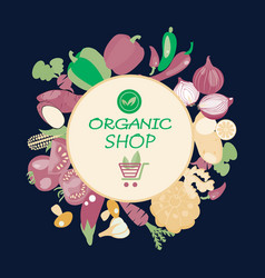 eco healthy organic vegetarian food background vector image vector image