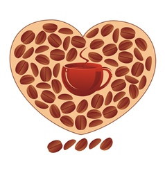 heart with coffee grains vector image vector image