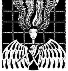 sad angel girl zentangl vector image vector image