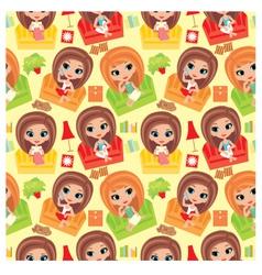 seamless girls cartoon pattern vector image vector image