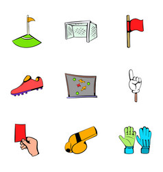 football icons set cartoon style vector image vector image