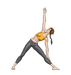 Girl in a yoga triangle pose Utthita trikonasana vector image vector image
