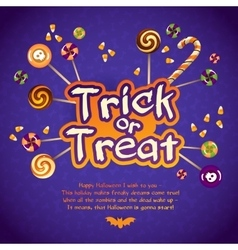 Happy Halloween Trick or Treat Greeting Card With vector image vector image